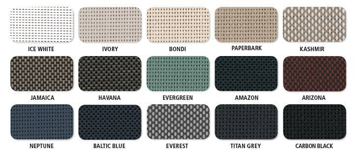 mesh colours for bottom lock blinds