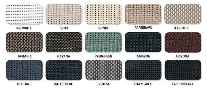 mesh colours for bottom lock blinds