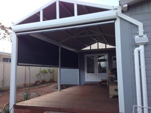 adjustable patio blinds on wood verandah