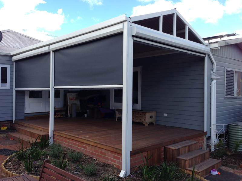 Charming Ability To Create Enclosed Room With Blinds On Verandah.