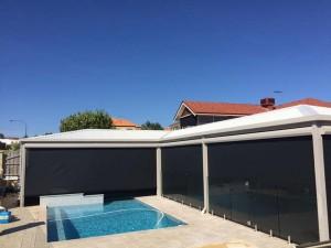 Wide Outdoor Blinds Over Pool in Mindarie