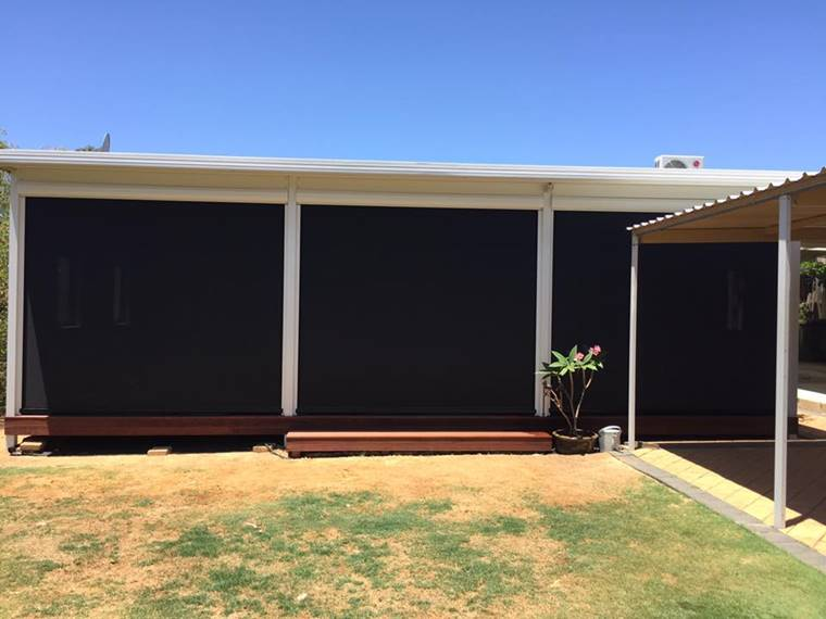 dark mesh patio blinds in coolbellup