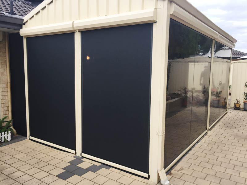 half shade mesh blinds and half clear pvc installation