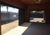 backyard alfresco area with dark ziptrak blinds