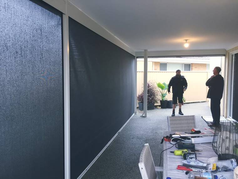 ziptrak blinds installed in a southern river patio.