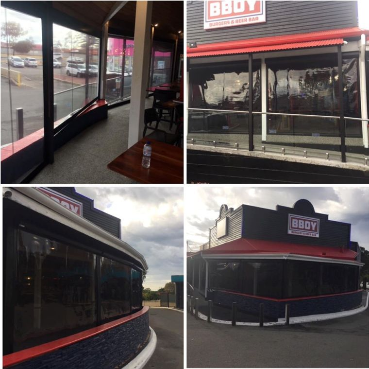 Clear pvc ziptrak blinds installed at BBOY in O'Connor.