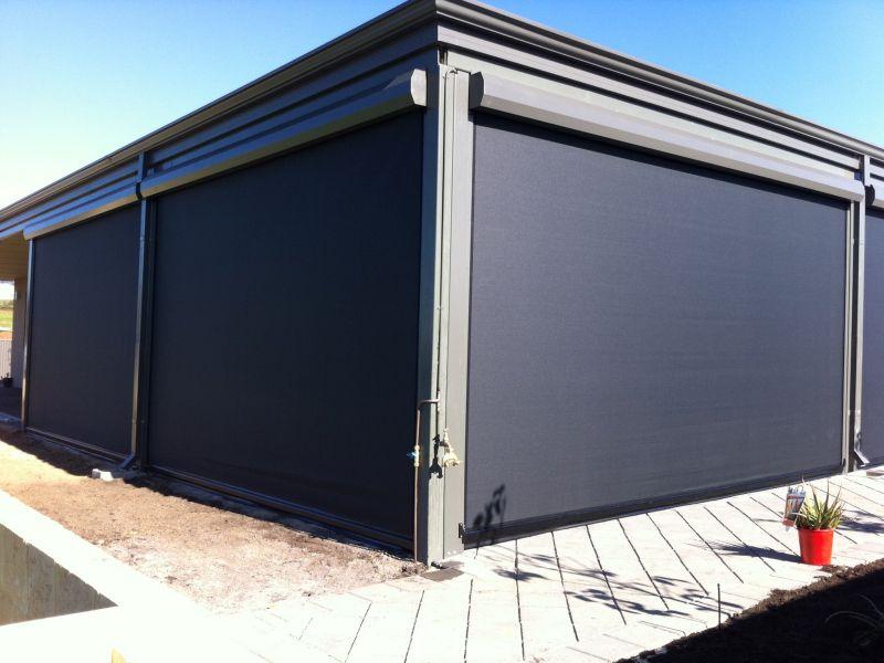 four dark mesh ziptrak blinds