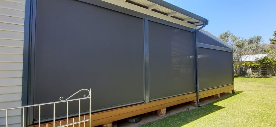 side view of ziptrak blinds installed on a patio in fremantle