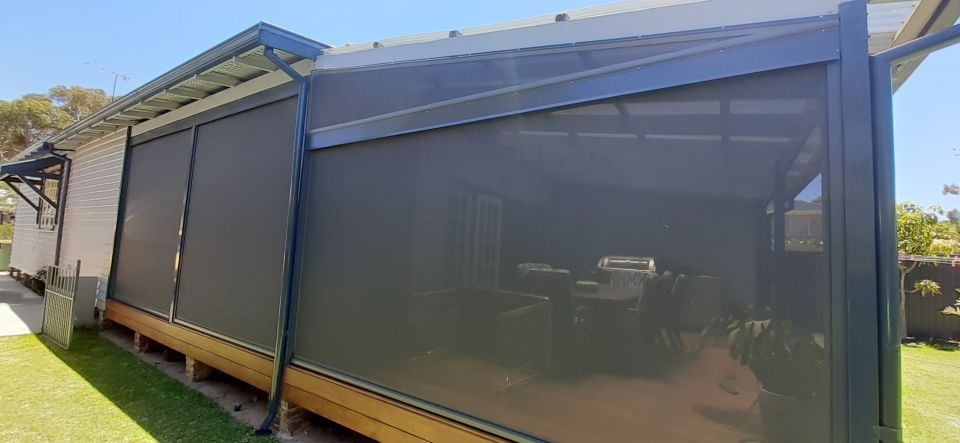 back patio in freo with shade mesh ziptrak blinds