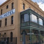 The Federal Hotel in Fremantle with newly installed clear Ziptrak blinds on the balcony.
